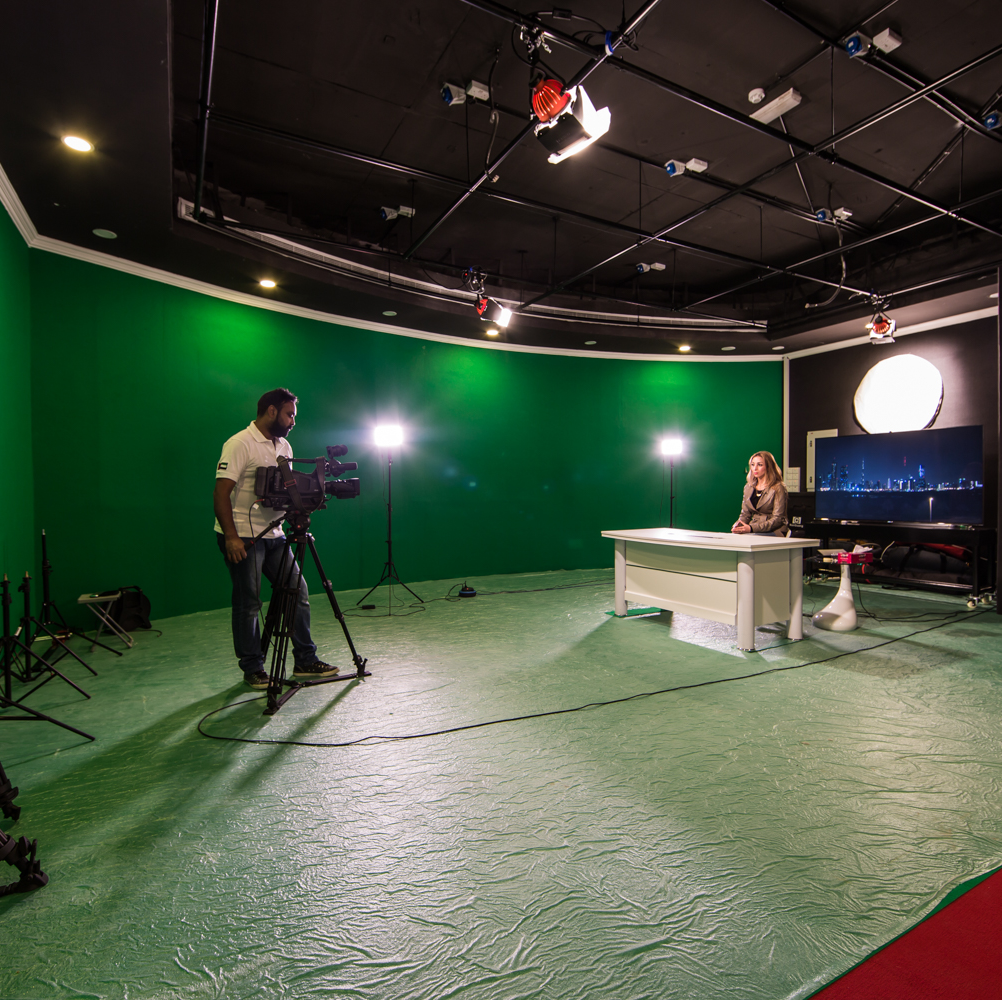 Large two directional Chroma Supported Video Production studio with cool lights provides clients opportunity to utilize the studio in their own customize way. Multi-camera Support, customized multi-view. Full HD production Equipment with 4k Production Control Room guarantees excellent production quality. 8/16 HD SDI inputs with support for HDMI input and HDMI output. Multi-viewer, autocue, Chroma, upstream, Downstream and much more is available at Our Media PCR.